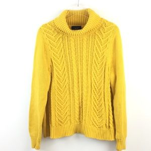 Lands End Drifter Yellow Cable Knit Turtleneck 18